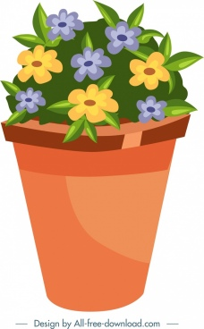 garden design element flower pot icon colorful decor