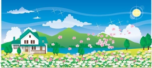 spring painting house blooming flowers decor colorful design
