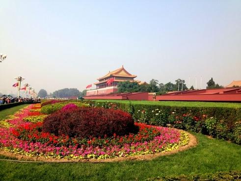 garden in front of tiananmen square in beijing china