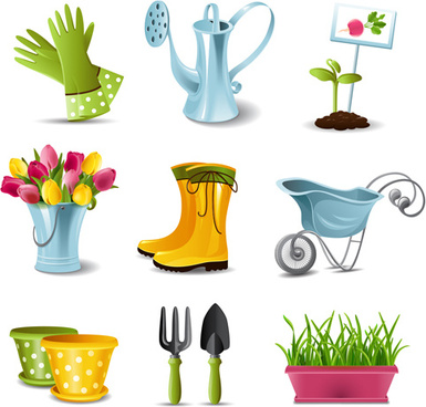 garden spade and tool with elements vector