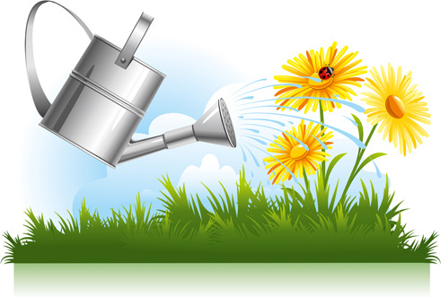 garden watering design vector graphics