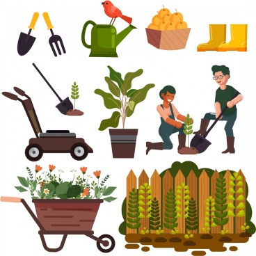 garden work design elements tools plants gardener icons