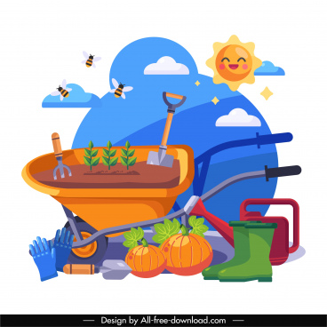gardening background colorful flat tools nature elements sketch