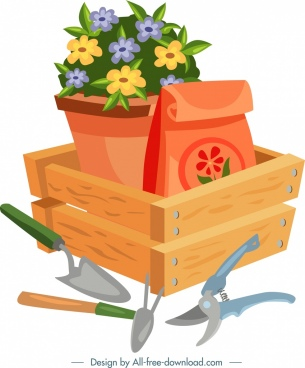 gardening background flower pot tool icons colorful design