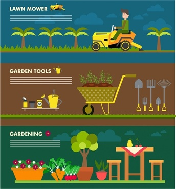gardening concepts design with various horizontal banners style