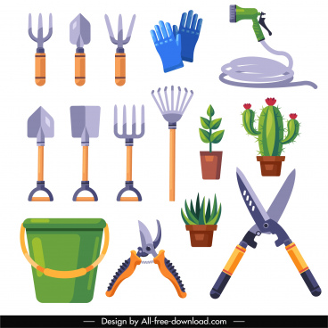 gardening design elements colored flat tools tree sketch