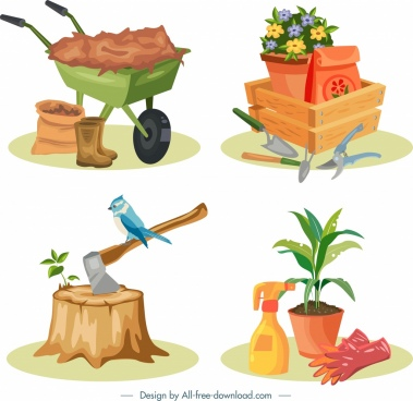 gardening design elements colorful icons decor