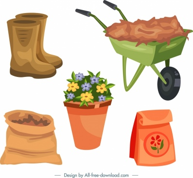 gardening design elements flower pot tools icons