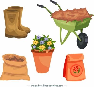 gardening design elements flower pot tools icons
