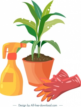 gardening design elements plant gloves sprayer icons