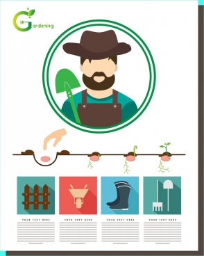 gardening infographic design sowing process tools symbol decoration