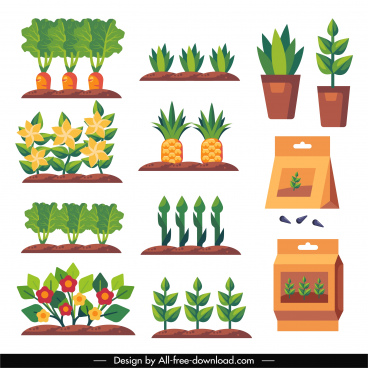 gardening products icons colored flat symbols sketch