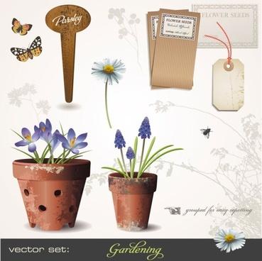 gardening theme 01 vector