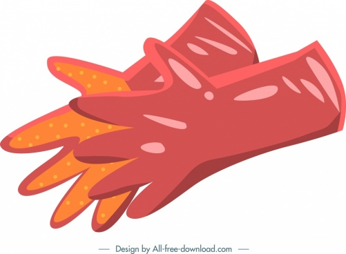 gardening tool icon red gloves pair design