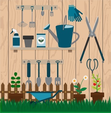 gardening tools collection illustration with various types