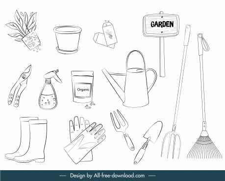 gardening tools icons black white handdrawn sketch