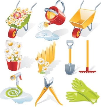 gardening tools icons collection various colorful symbols