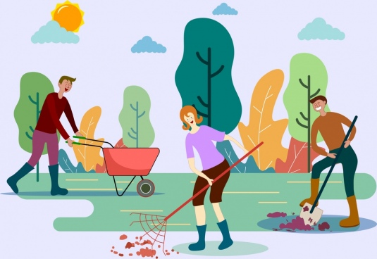 gardening work background working people icons cartoon design