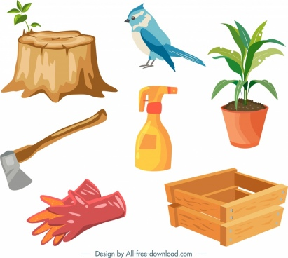 gardening work design elements colorful icons decor