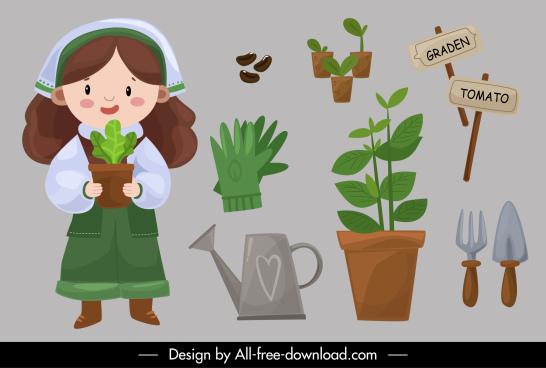 gardening work design elements girl planting tools sketch