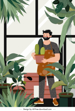 gardening work painting colored cartoon character sketch
