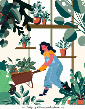 gardening work painting woman houseplants sketch cartoon character