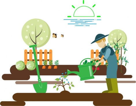 gardening work theme man growing tree sketch colorful design