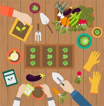 gardening works concept illustration with hands and products