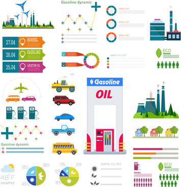 gasoline oil with gas station infographic vector