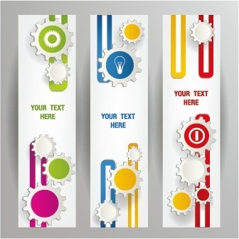 gear abstract banners design vector
