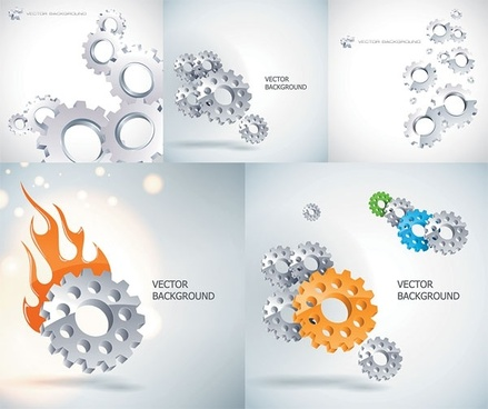 gears background shiny grey decoration various types design