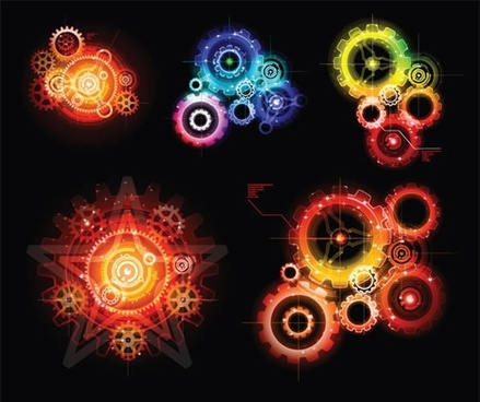 decor gears templates modern sparkling lights effect