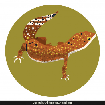 gecko icon colorful classic closeup design