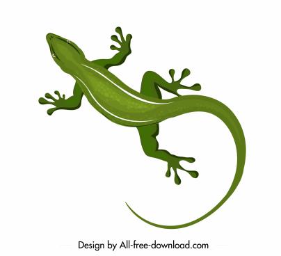 gecko icon green design flat sketch