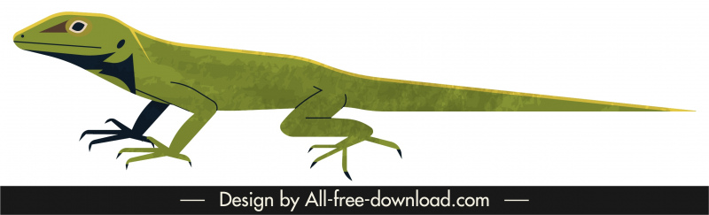 gecko reptile animal icon green decor cartoon design