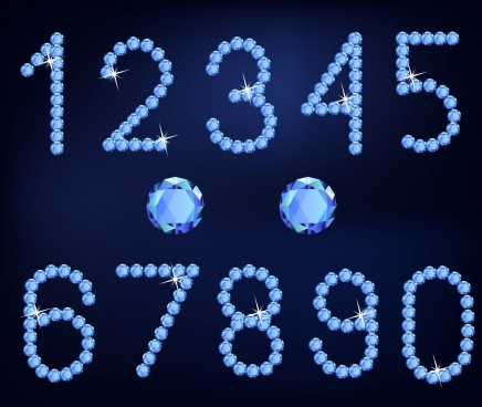 gemstones advertisement sparkling blue numbering design