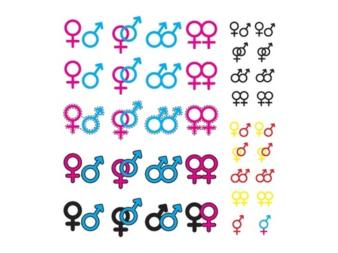 gender symbol vector illustration with various color styles