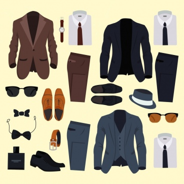 gentleman design elements colored accessories icons