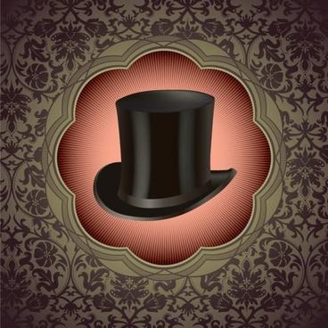 gentleman hat background 01 vector