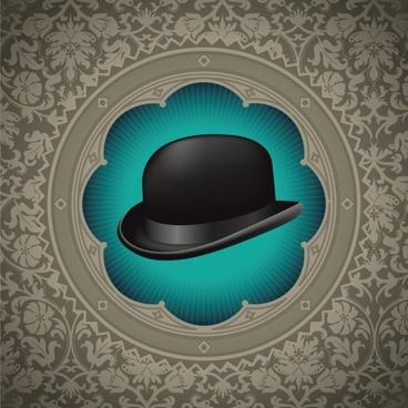gentleman hat background 02 vector
