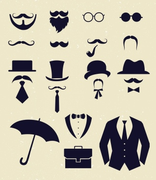 gentlemen design elements black flat icons