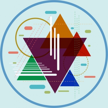 geometric abstract background colorful flat circles triangles icons