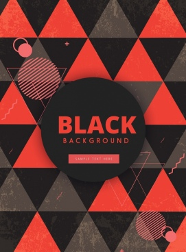 geometric background black red triangles circles decoration