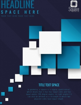 geometric background blue white squares dark design