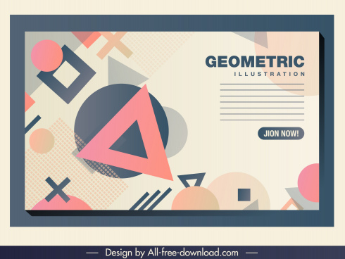 geometric background colorful flat triangles circles squares shapes