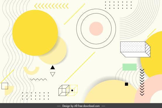geometric background colorful handdrawn flat 3d sketch