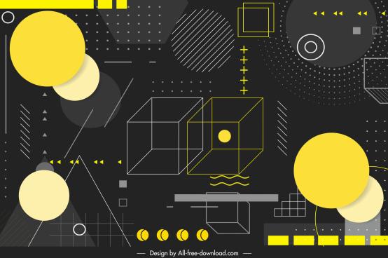 geometric background dark design flat 3d elements sketch
