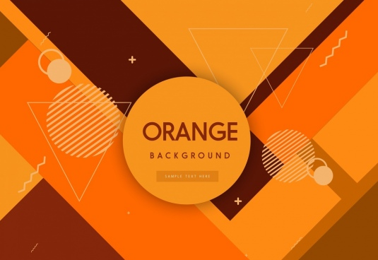geometric background orange decor circles triangles ornament
