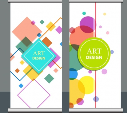 geometric background sets colorful geometric square round decor