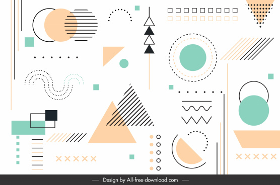 geometric background template bright colored flat shapes sketch